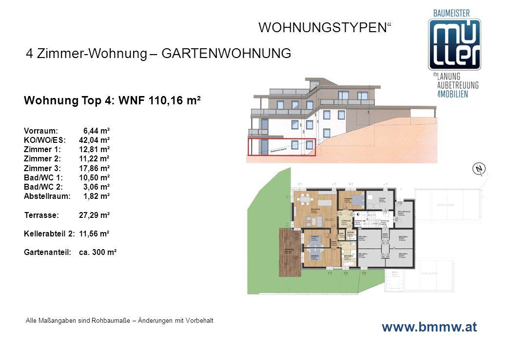 www.bmmw.at Wohnung Top 4: WNF 110,16 m² Vorraum: 6,44 m² KO/WO/ES:42,04 m² Zimmer 1:12,81 m² Zimmer 2: 11,22 m² Zimmer 3:17,86 m² Bad/WC 1:10,50 m² B