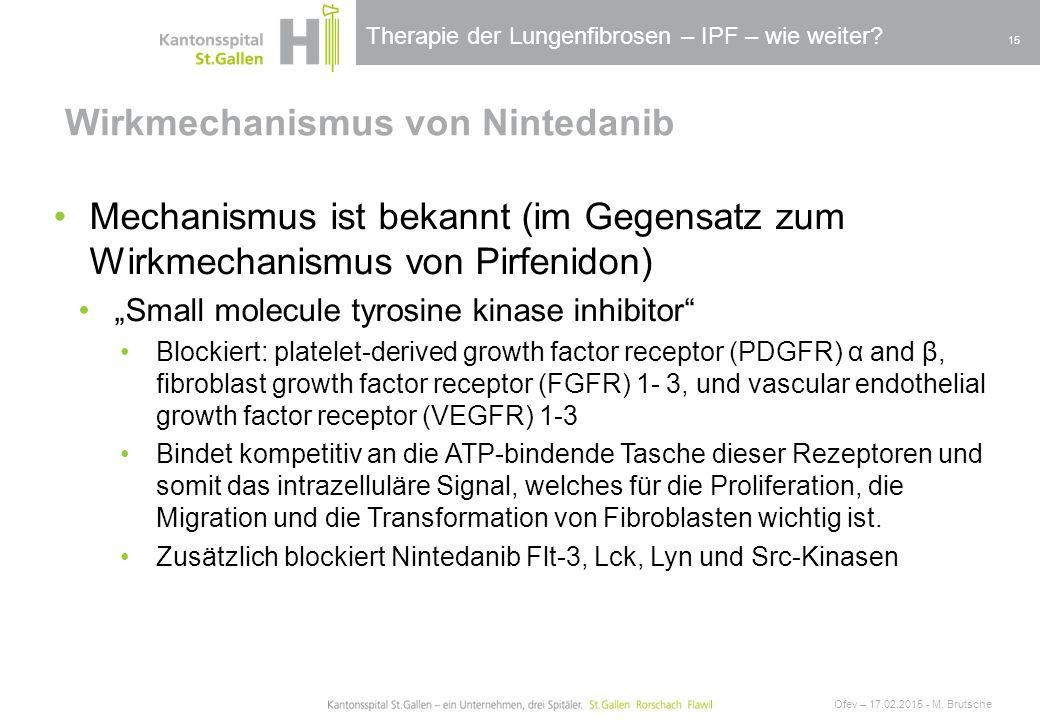 Therapie der Lungenfibrosen – IPF – wie weiter? Wirkmechanismus von Nintedanib Ofev – 17.02.2015 - M. Brutsche 15 Mechanismus ist bekannt (im Gegensat
