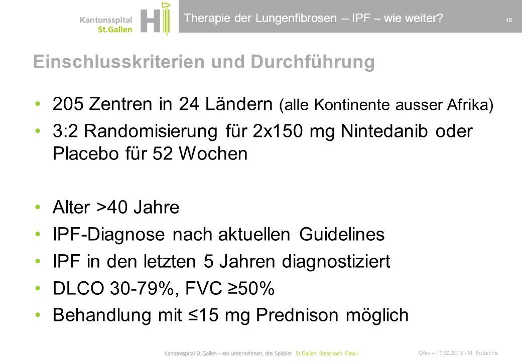 Therapie der Lungenfibrosen – IPF – wie weiter? Einschlusskriterien und Durchführung Ofev – 17.02.2015 - M. Brutsche 16 205 Zentren in 24 Ländern (all