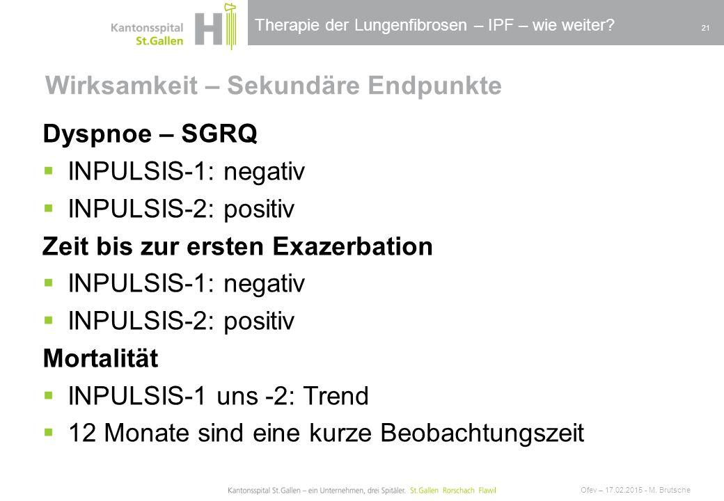 Therapie der Lungenfibrosen – IPF – wie weiter? Wirksamkeit – Sekundäre Endpunkte Ofev – 17.02.2015 - M. Brutsche 21 Dyspnoe – SGRQ  INPULSIS-1: nega