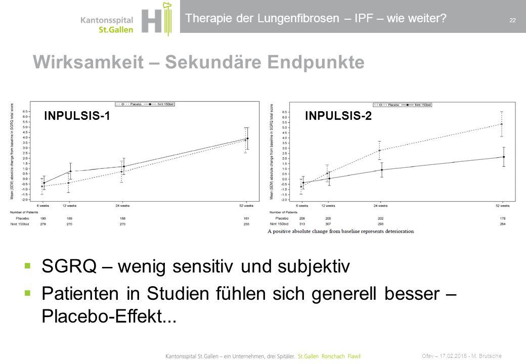 Therapie der Lungenfibrosen – IPF – wie weiter? Wirksamkeit – Sekundäre Endpunkte Ofev – 17.02.2015 - M. Brutsche 22  SGRQ – wenig sensitiv und subje
