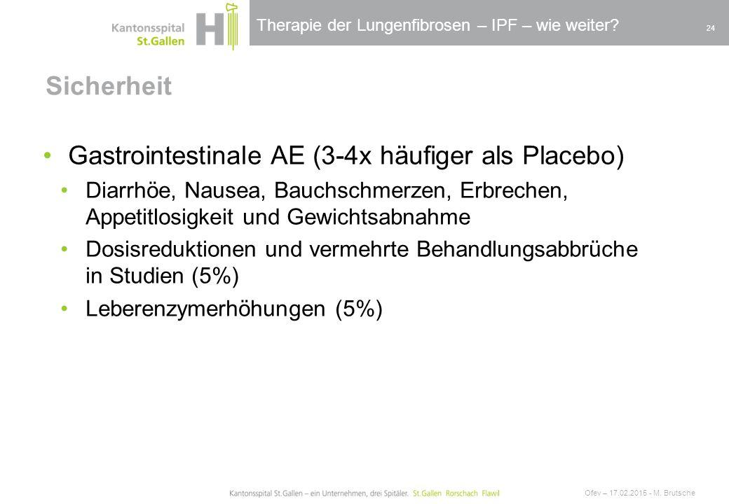 Therapie der Lungenfibrosen – IPF – wie weiter? Sicherheit Ofev – 17.02.2015 - M. Brutsche 24 Gastrointestinale AE (3-4x häufiger als Placebo) Diarrhö