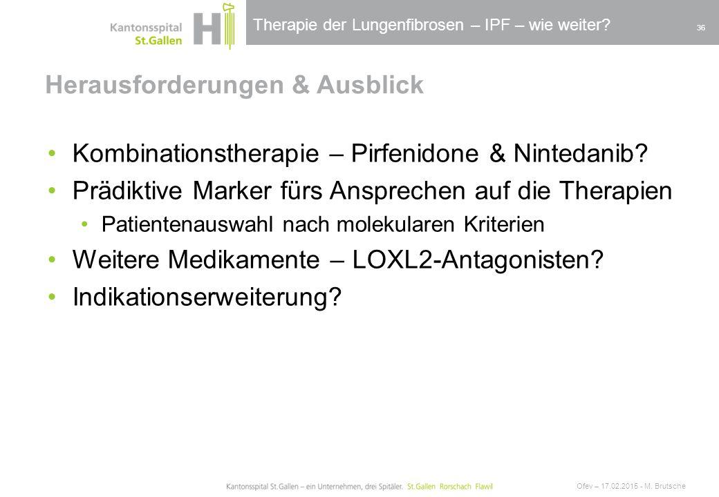 Therapie der Lungenfibrosen – IPF – wie weiter? Herausforderungen & Ausblick Ofev – 17.02.2015 - M. Brutsche 36 Kombinationstherapie – Pirfenidone & N