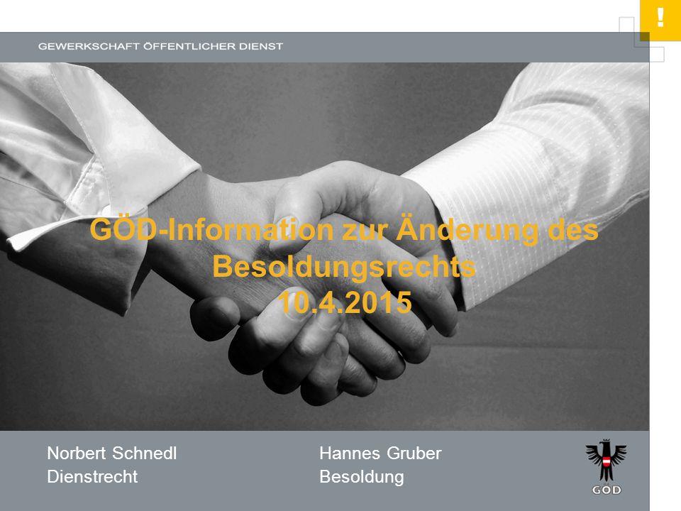 ! HIER STEHT DER TITEL Norbert SchnedlHannes Gruber DienstrechtBesoldung GÖD-Information zur Änderung des Besoldungsrechts 10.4.2015