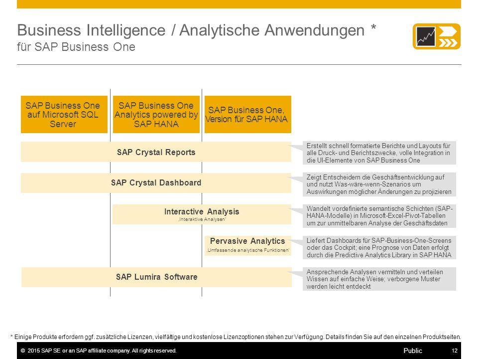 ©2015 SAP SE or an SAP affiliate company. All rights reserved.12 Public Business Intelligence / Analytische Anwendungen * für SAP Business One * Einig