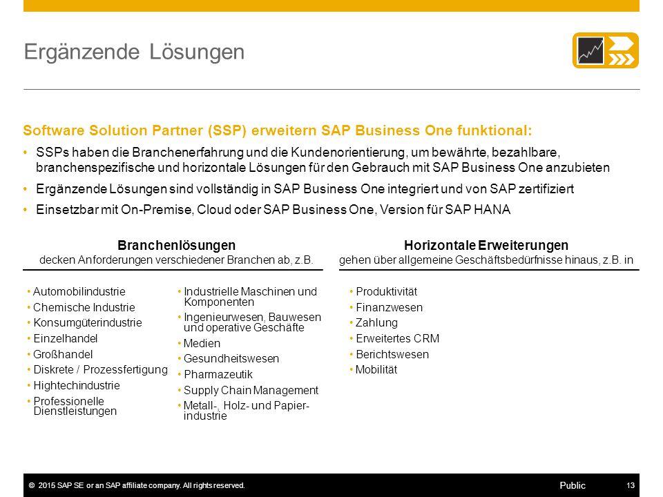 ©2015 SAP SE or an SAP affiliate company. All rights reserved.13 Public Ergänzende Lösungen Automobilindustrie Chemische Industrie Konsumgüterindustri