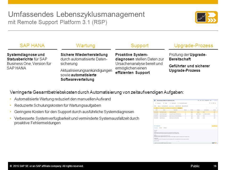 ©2015 SAP SE or an SAP affiliate company. All rights reserved.16 Public Umfassendes Lebenszyklusmanagement mit Remote Support Platform 3.1 (RSP) Prüfu