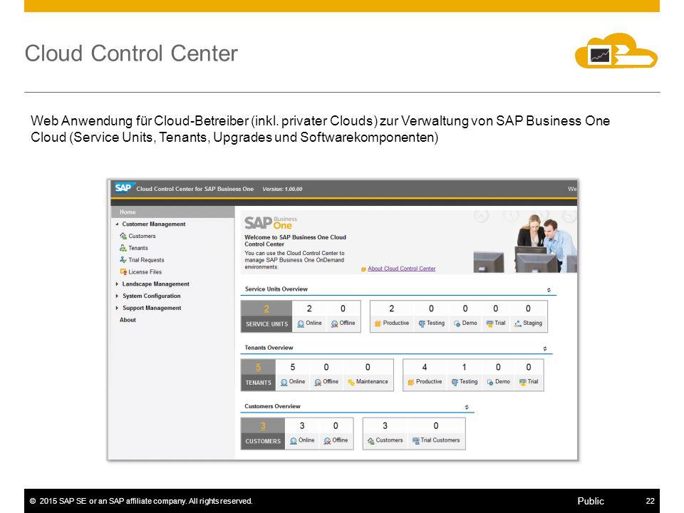 ©2015 SAP SE or an SAP affiliate company. All rights reserved.22 Public Web Anwendung für Cloud-Betreiber (inkl. privater Clouds) zur Verwaltung von S