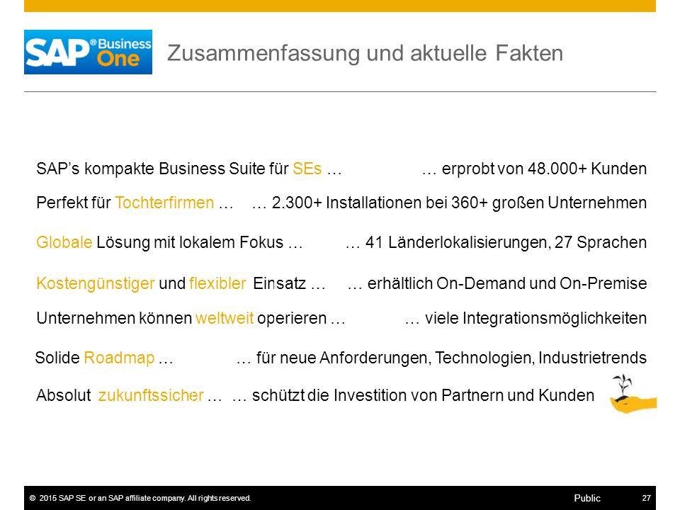 ©2015 SAP SE or an SAP affiliate company. All rights reserved.27 Public Zusammenfassung und aktuelle Fakten SAP's kompakte Business Suite für SEs … Pe