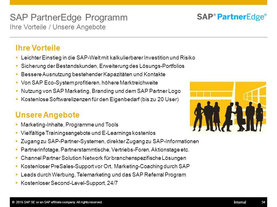 ©2015 SAP SE or an SAP affiliate company. All rights reserved.34 Internal SAP PartnerEdge Programm Ihre Vorteile / Unsere Angebote Unsere Angebote  M