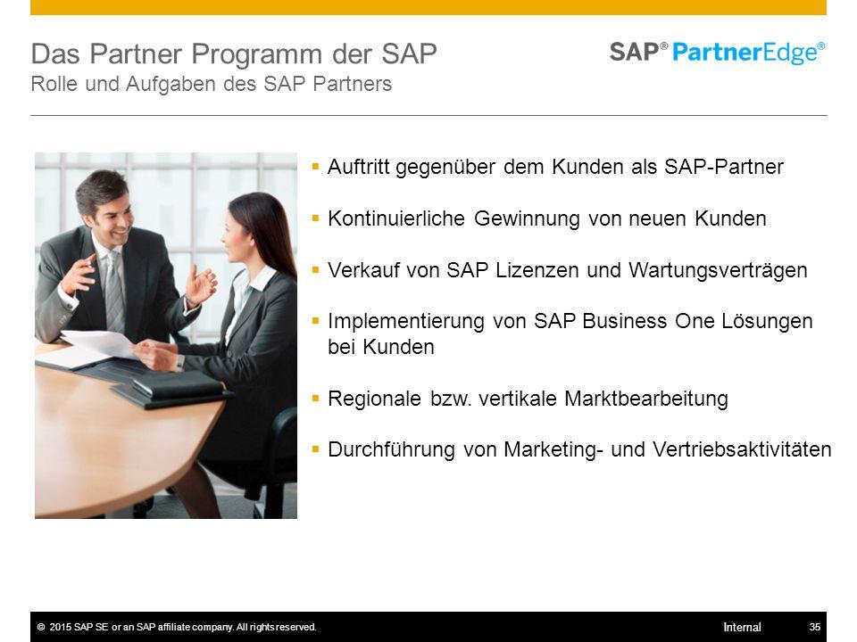 ©2015 SAP SE or an SAP affiliate company. All rights reserved.35 Internal Das Partner Programm der SAP Rolle und Aufgaben des SAP Partners  Auftritt