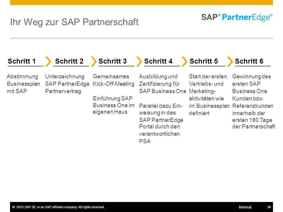 ©2015 SAP SE or an SAP affiliate company. All rights reserved.36 Internal Ihr Weg zur SAP Partnerschaft Schritt 1Schritt 6Schritt 5Schritt 4 Schritt 3