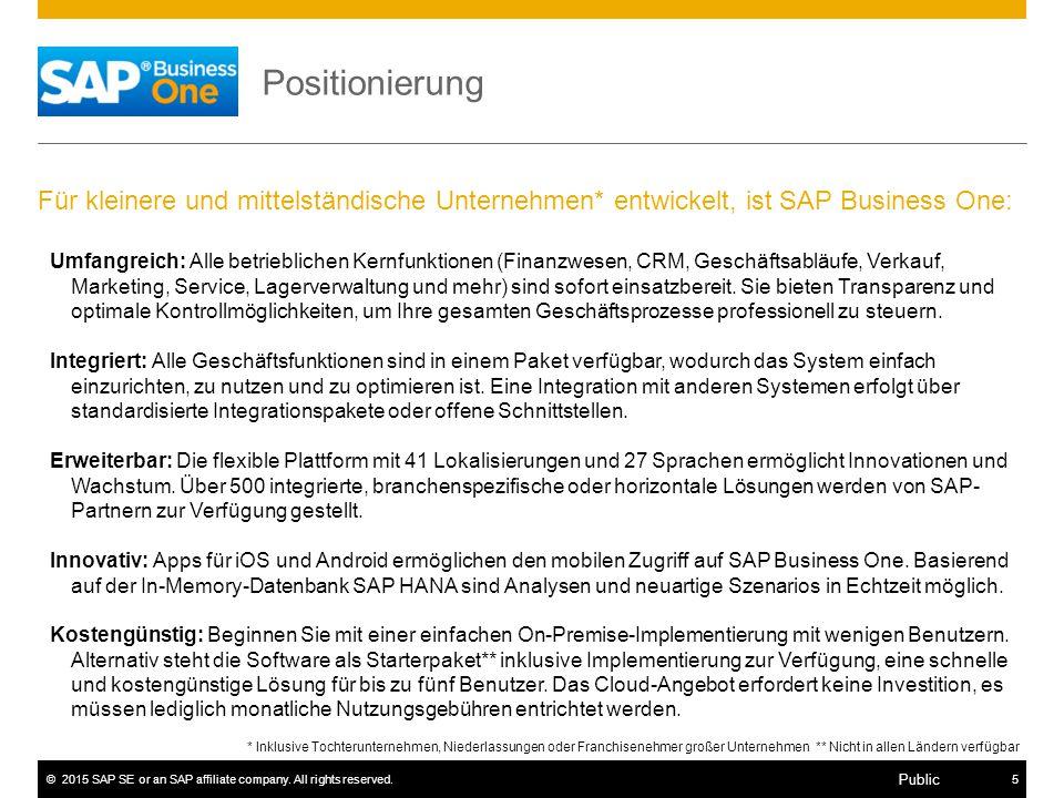 ©2015 SAP SE or an SAP affiliate company. All rights reserved.5 Public Positionierung Für kleinere und mittelständische Unternehmen* entwickelt, ist S