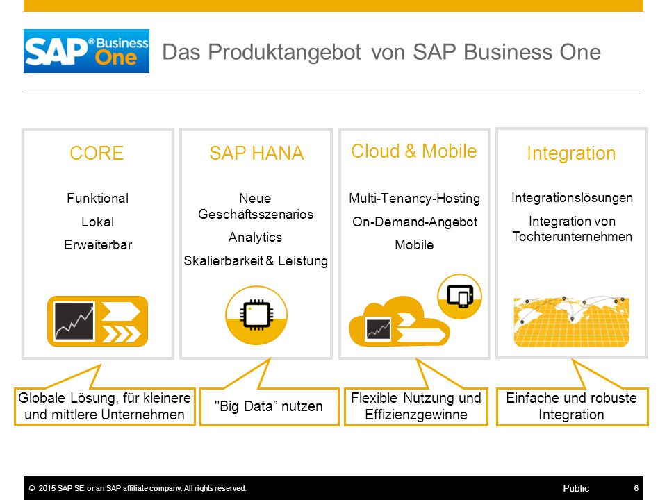 ©2015 SAP SE or an SAP affiliate company. All rights reserved.6 Public Das Produktangebot von SAP Business One