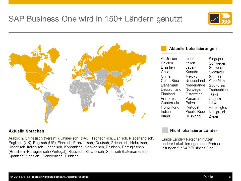 ©2015 SAP SE or an SAP affiliate company. All rights reserved.8 Public SAP Business One wird in 150+ Ländern genutzt Einige Länder/ Regionen nutzen an