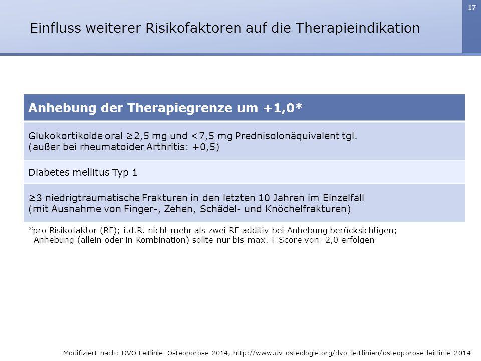 17 *pro Risikofaktor (RF); i.d.R. nicht mehr als zwei RF additiv bei Anhebung berücksichtigen; Anhebung (allein oder in Kombination) sollte nur bis ma