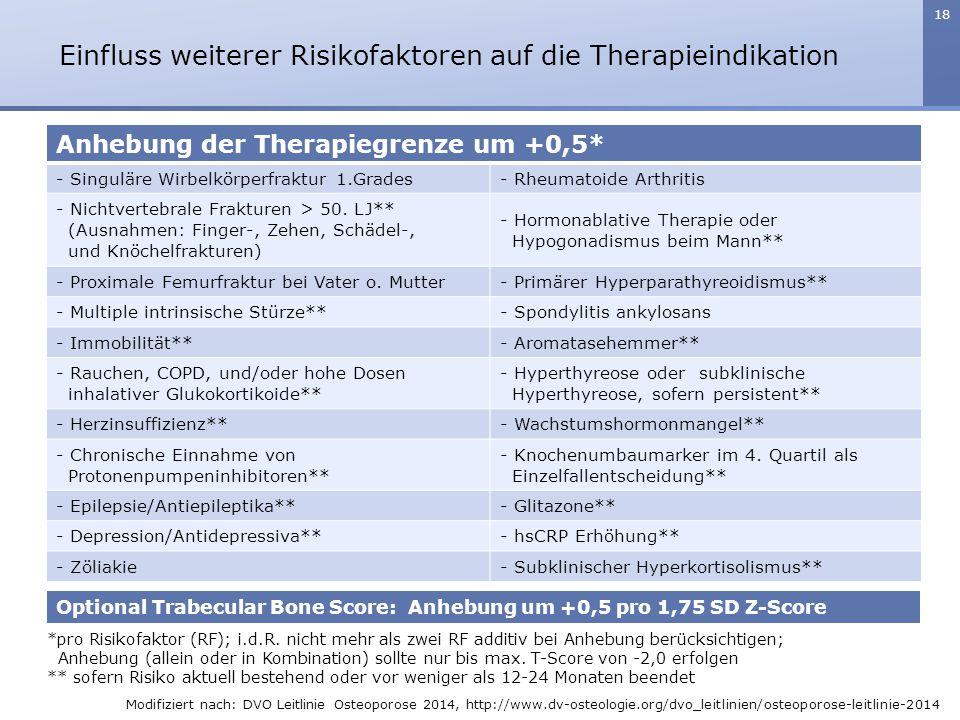 18 *pro Risikofaktor (RF); i.d.R. nicht mehr als zwei RF additiv bei Anhebung berücksichtigen; Anhebung (allein oder in Kombination) sollte nur bis ma