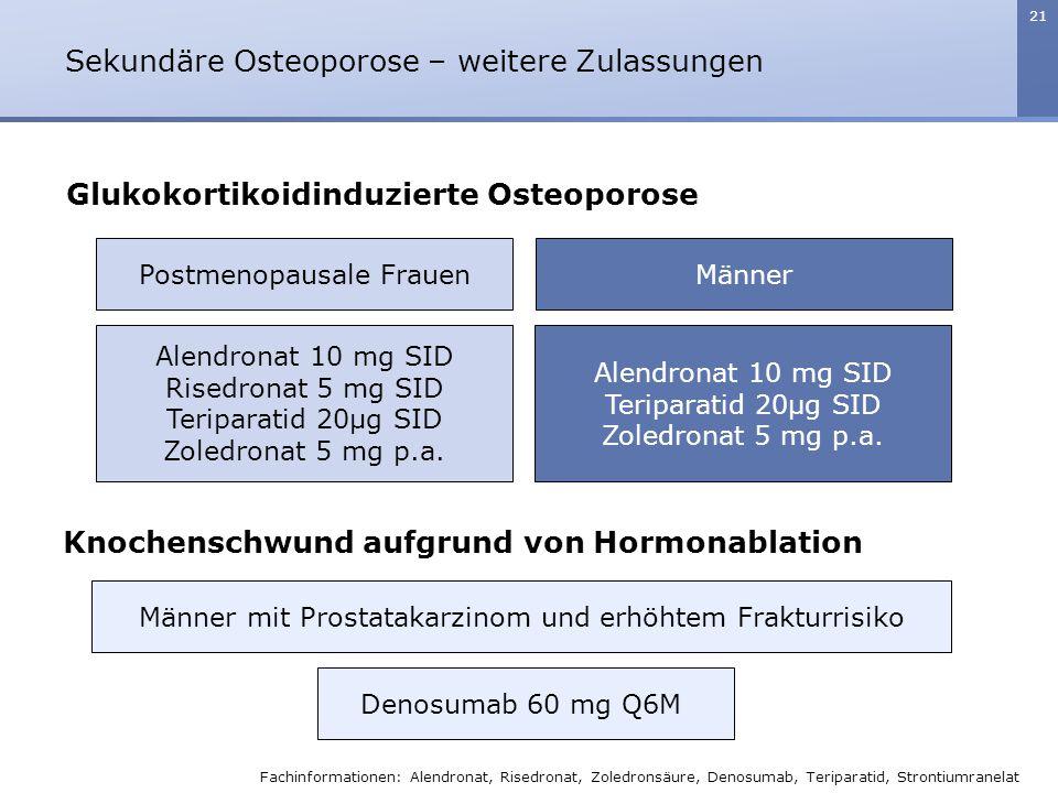 21 Postmenopausale Frauen Alendronat 10 mg SID Risedronat 5 mg SID Teriparatid 20µg SID Zoledronat 5 mg p.a. Männer Alendronat 10 mg SID Teriparatid 2