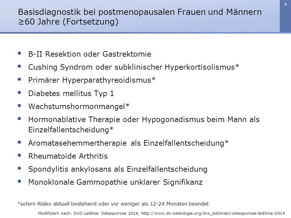9  B-II Resektion oder Gastrektomie  Cushing Syndrom oder subklinischer Hyperkortisolismus*  Primärer Hyperparathyreoidismus*  Diabetes mellitus T