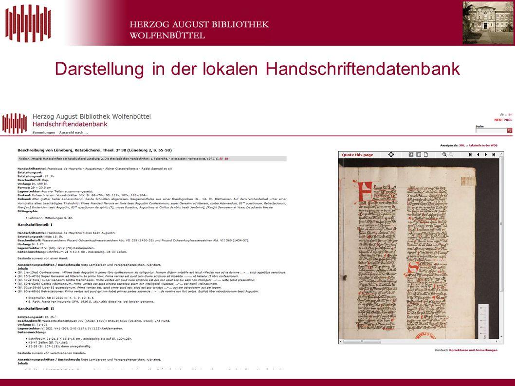 Darstellung in der lokalen Handschriftendatenbank