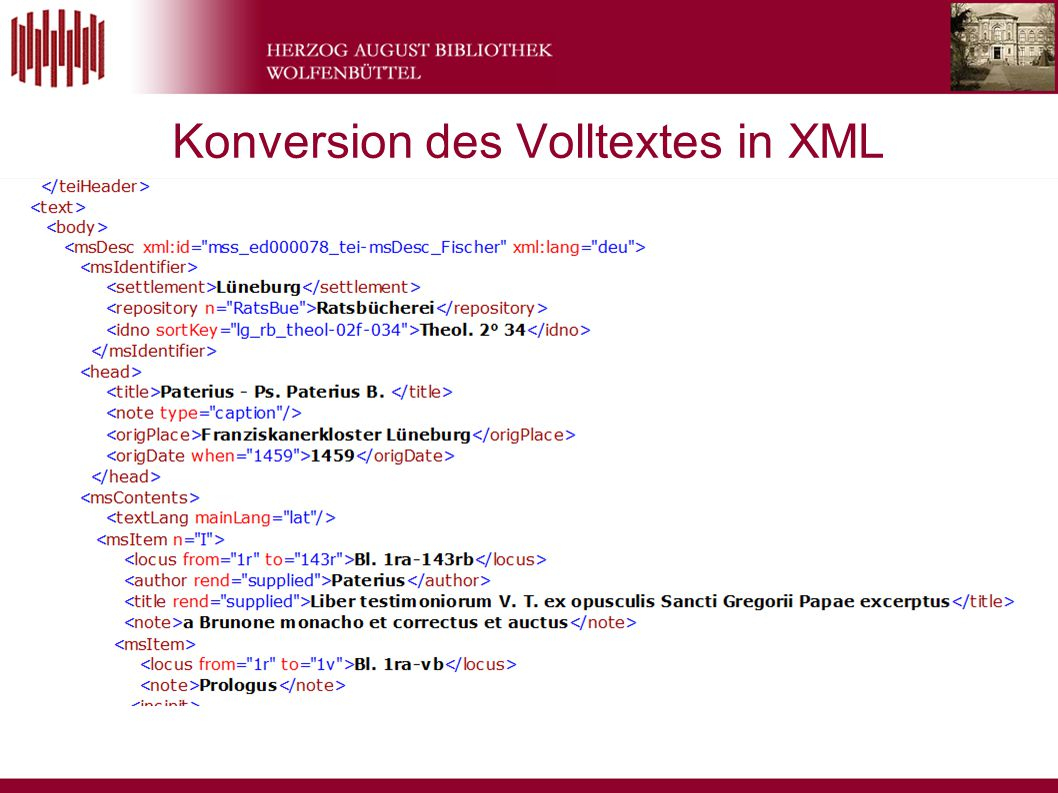 Konversion des Volltextes in XML