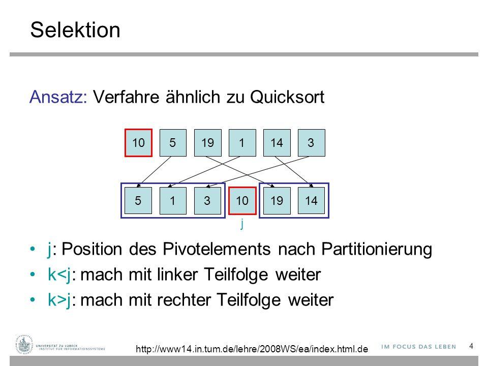 5 Selektion function Quickselect(A, l, r, k) // a[l..r]: Restfeld, k: k-kleinstes Element, l≤k≤r if r = l then return A[l] z := zufällige Position in {l,..,r} temp := A[z]; A[z] := A[r]; A[r] := temp v := A[r]; i := l-1; j := r repeat // ordne Elemente in [l,r-1] nach Pivot v repeat i := i + 1 until A[i] ≥ v repeat j := j - 1 until A[j] i then e := Quickselect(A, i+1, r, k) if k = i then e := A[k] return e http://www14.in.tum.de/lehre/2008WS/ea/index.html.de