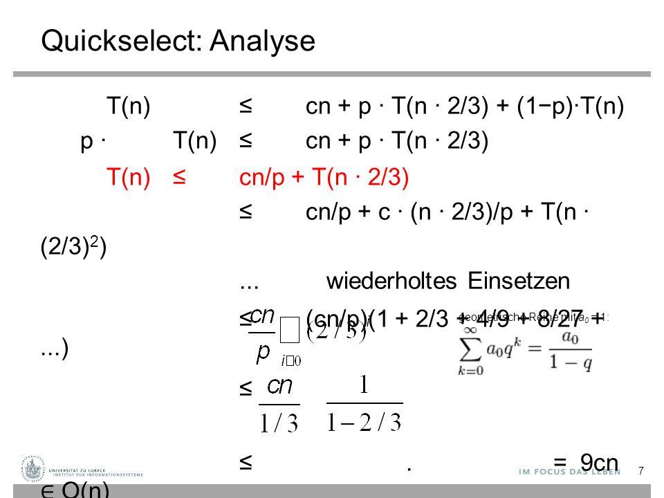 Quickselect: Analyse T(n)≤cn + p · T(n · 2/3) + (1−p)·T(n) p · T(n) ≤cn + p · T(n · 2/3) T(n)≤cn/p + T(n · 2/3) ≤ cn/p + c · (n · 2/3)/p + T(n · (2/3)