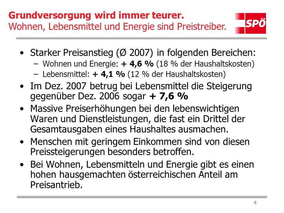 4 Starker Preisanstieg (Ø 2007) in folgenden Bereichen: –Wohnen und Energie: + 4,6 % (18 % der Haushaltskosten) –Lebensmittel: + 4,1 % (12 % der Haushaltskosten) Im Dez.