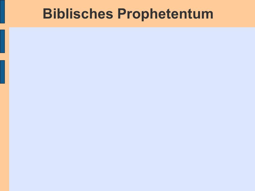 Biblisches Prophetentum 1)Henoch = der Entrückte 2)Abraham = der Bezeugte 3)Mose = der Mann Gottes / der Mann des Wortes 4)ein Engel = der Furchtbare 5)der Unbekannte = direkt / privat 6)Samuel = der Angesehene 7)David = der Hochgestellte 8)Schemaja = der Korregierende 9)Juda = der Ungehorsame 10)Elia = der Fürbitter 11)Elisa = der Wundertäter 12)der Mann Gottes = Der Ungeteilte 13)Hananja = Der Gereifte Mann 14)Hiob = Der Rechtschaffende 15)Jeremia = Der Todgeweihte 16)Igdala = Der Abgesonderte 17)Jesus = Der Gesalbte / Der Messias Die Person