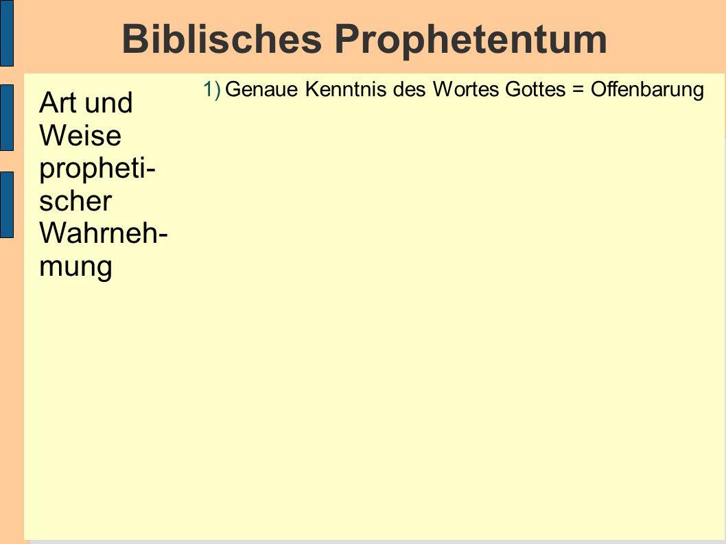 Biblisches Prophetentum 1)Genaue Kenntnis des Wortes Gottes = Offenbarung Art und Weise propheti- scher Wahrneh- mung