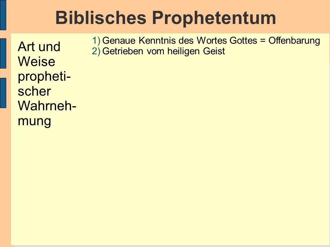 Biblisches Prophetentum 1)Genaue Kenntnis des Wortes Gottes = Offenbarung 2)Getrieben vom heiligen Geist Art und Weise propheti- scher Wahrneh- mung