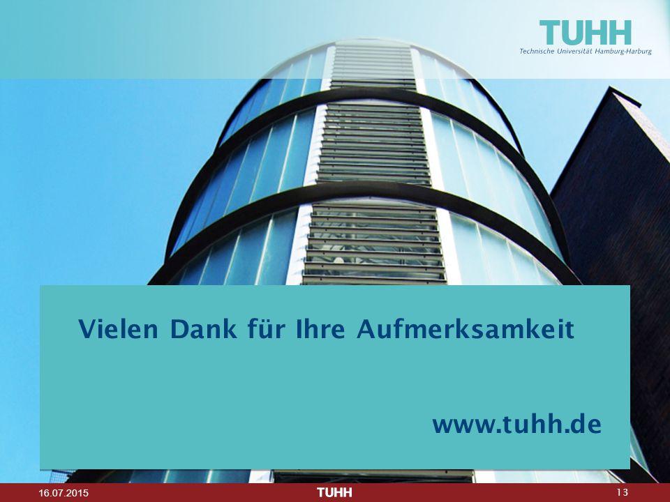 13 16.07.2015 Vielen Dank für Ihre Aufmerksamkeit www.tuhh.de
