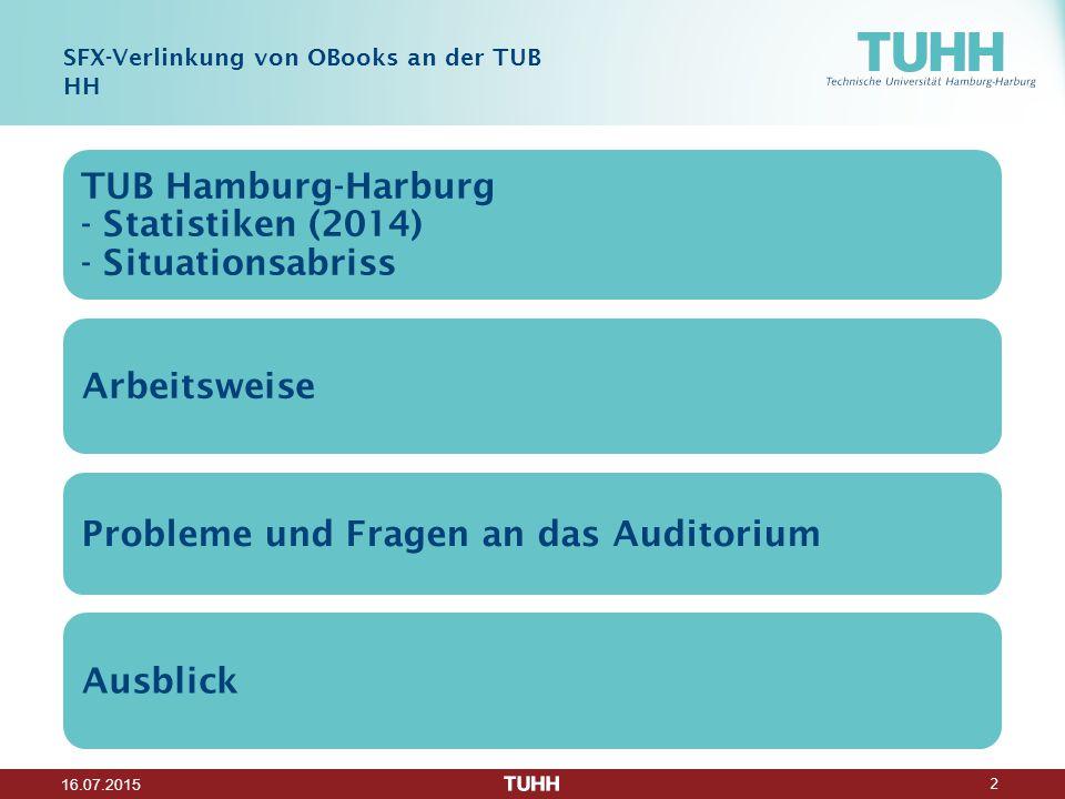 2 16.07.2015 SFX-Verlinkung von OBooks an der TUB HH TUB Hamburg-Harburg - Statistiken (2014) - Situationsabriss Arbeitsweise Probleme und Fragen an das Auditorium Ausblick