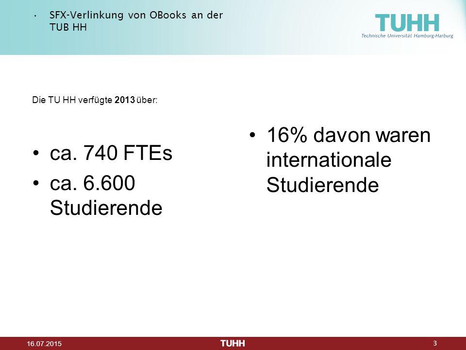 3 16.07.2015 SFX-Verlinkung von OBooks an der TUB HH Die TU HH verfügte 2013 über: ca.