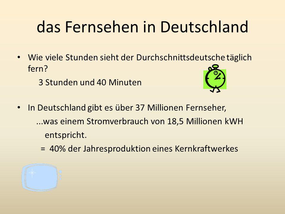 das Fernsehen in Deutschland Wie viele Stunden sieht der Durchschnittsdeutsche täglich fern.