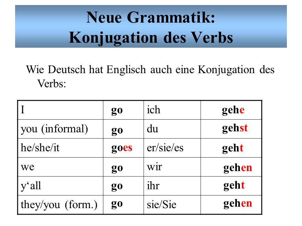 Neue Grammatik: Konjugation des Verbs Wie Deutsch hat Englisch auch eine Konjugation des Verbs: Iich you (inform.)du he/she/iter/sie/es wewir y'allihr