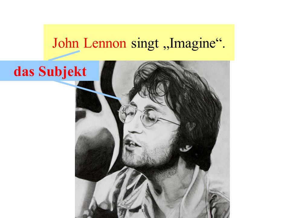 "John Lennon singt ""Imagine . aktiv das Subjekt"