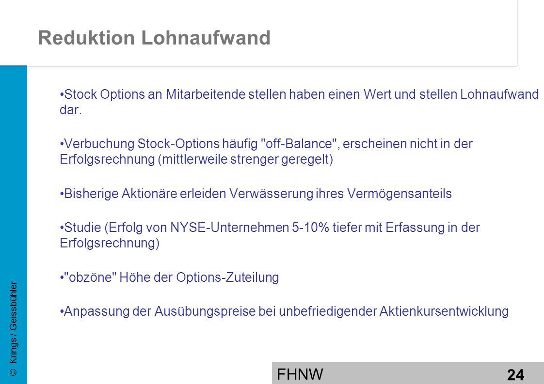 FHNW 24 © Krings / Geissbühler Reduktion Lohnaufwand Stock Options an Mitarbeitende stellen haben einen Wert und stellen Lohnaufwand dar.