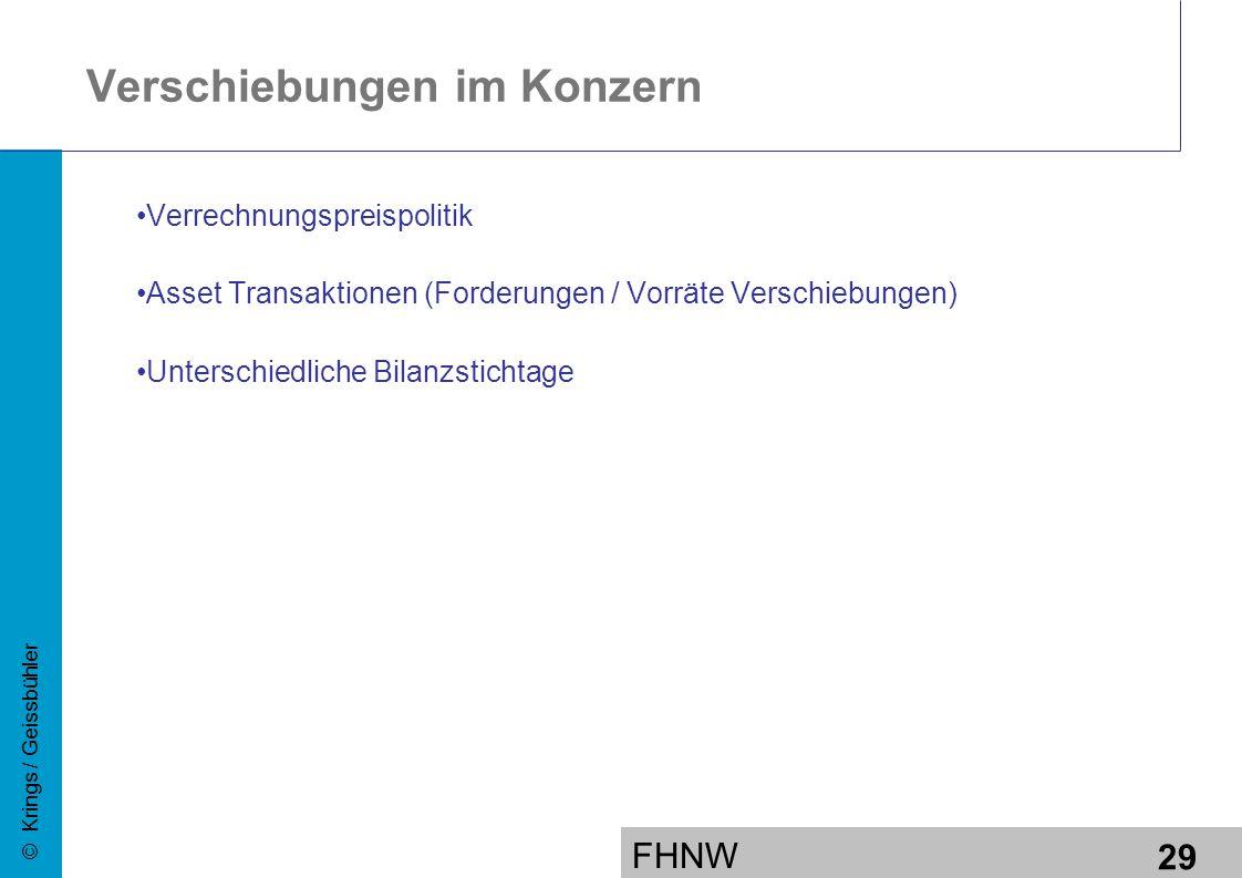 FHNW 29 © Krings / Geissbühler Verschiebungen im Konzern Verrechnungspreispolitik Asset Transaktionen (Forderungen / Vorräte Verschiebungen) Unterschiedliche Bilanzstichtage