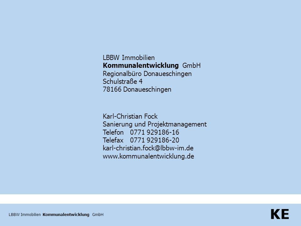 LBBW Immobilien Kommunalentwicklung GmbH LBBW Immobilien Kommunalentwicklung GmbH Regionalbüro Donaueschingen Schulstraße 4 78166 Donaueschingen Karl-