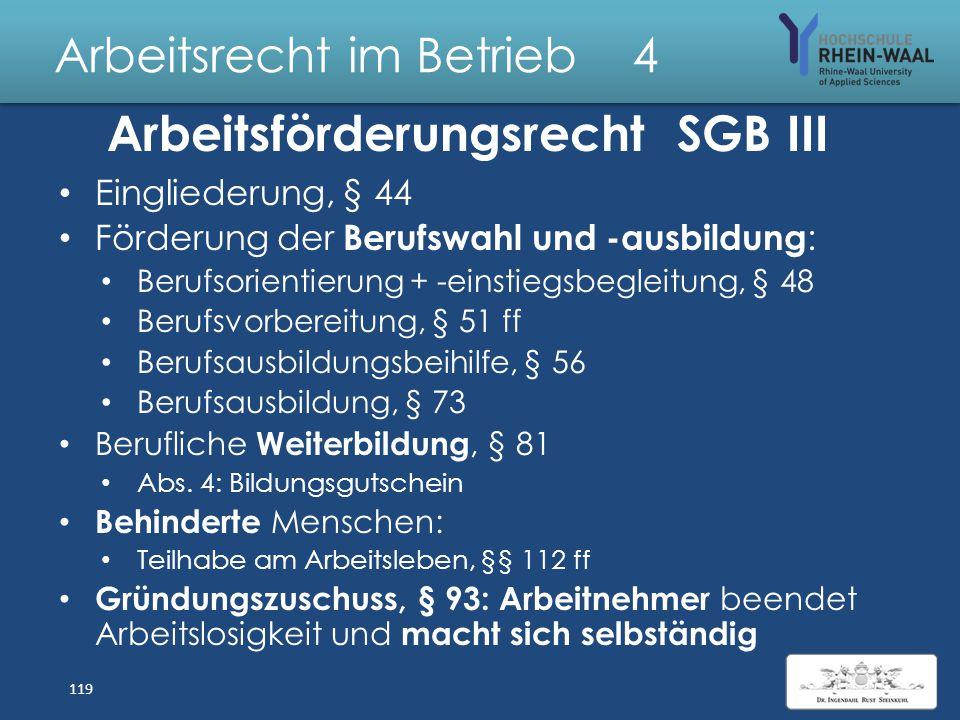 Arbeitsrecht im Betrieb 4 Arbeitsförderungsrecht SGB III Träger: Bundesanstalt für Arbeit Finanzierung der Arbeitslosenversicherung Arbeits vermittlun