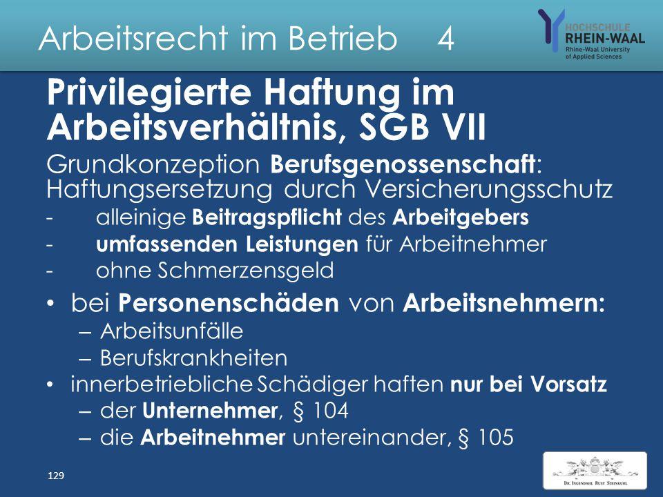 Arbeitsrecht im Betrieb 4 Unfallversicherung SGB VII Träger: Berufsgenossenschaft Beitragspflicht: Arbeitgeber allein Versicherungsfall: Arbeitsunfall