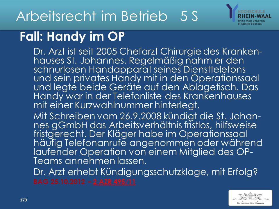 Arbeitsrecht im Betrieb 5 S Fall: Kündigung des Dombaumeisters Am 23.04.2015 verhandelt das Arbeitsgericht Köln die fristlose Kündigung des Dombaumeis