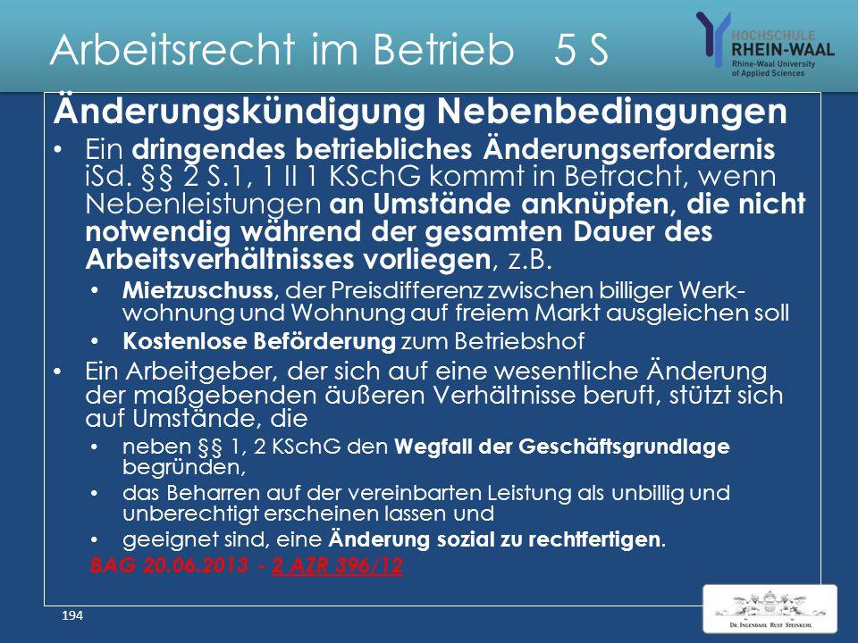 Arbeitsrecht im Betrieb 5 S Kündigungsschutzklage Gründe: Waffengleichheit : Arbeitnehmerreaktion auf einseitige Kündigung Arbeitsplatz trägt wirtscha