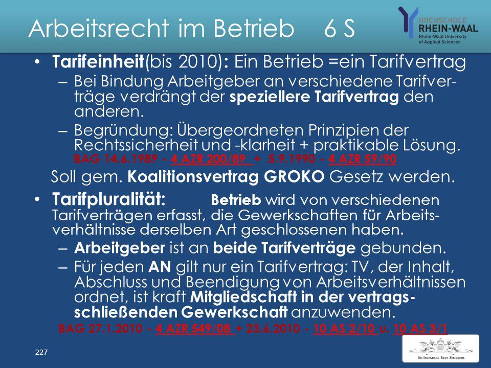 Arbeitsrecht im Betrieb 6 S Streiks der Gewerkschaft der Lokführer Die Gewerkschaft Deutscher Lokomotivführer(GDL) vertritt 34.000 Beschäftigte im Eis