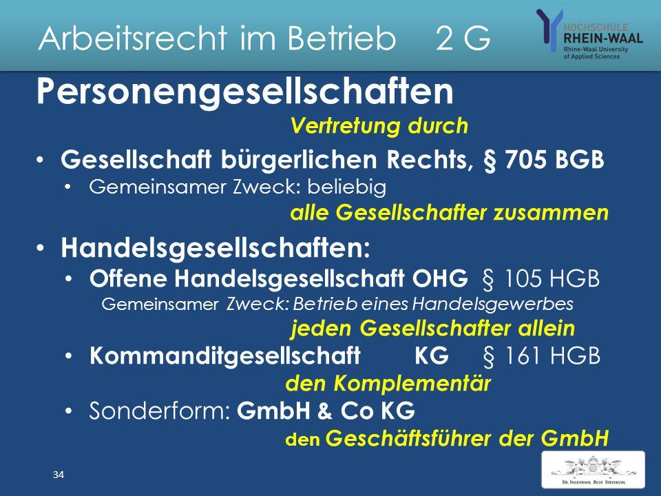 Arbeitsrecht im Betrieb 2 Träger von Rechten, Arbeitgeber Natürliche Person – Rechtsfähigkeit mit Geburt § 1 BGB – eingetragener Kaufmann e.K. § 2 HGB