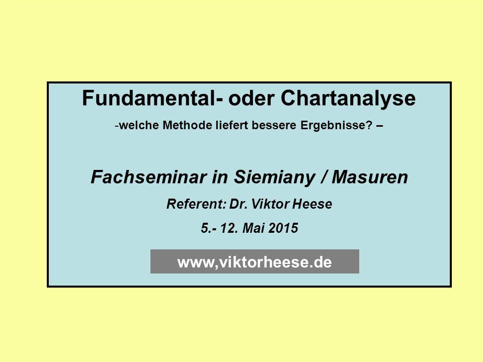 Fundamental- oder Chartanalyse -welche Methode liefert bessere Ergebnisse? – Fachseminar in Siemiany / Masuren Referent: Dr. Viktor Heese 5.- 12. Mai