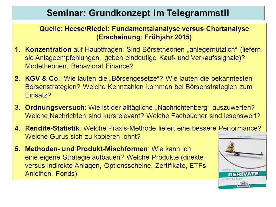Seminar: Grundkonzept im Telegrammstil Quelle: Heese/Riedel: Fundamentalanalyse versus Chartanalyse (Erscheinung: Frühjahr 2015) 1. Konzentration auf