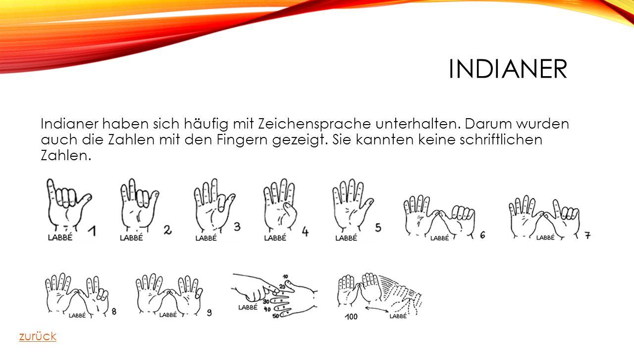 INDIANER Indianer haben sich häufig mit Zeichensprache unterhalten. Darum wurden auch die Zahlen mit den Fingern gezeigt. Sie kannten keine schriftlic
