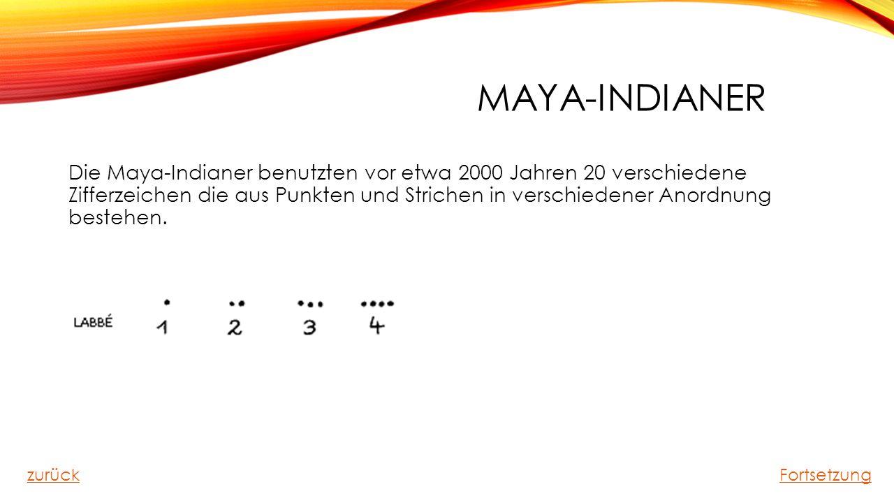 MAYA-INDIANER Die Maya-Indianer benutzten vor etwa 2000 Jahren 20 verschiedene Zifferzeichen die aus Punkten und Strichen in verschiedener Anordnung b